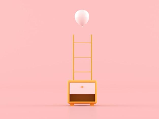 Abstrakter minimaler zusammensetzungskonzept, kleiner gelber schrank mit leiter und weißem ballon auf rosa hintergrund. 3d-rendering.