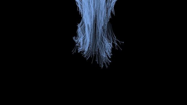 Abstrakter minimalistischer schwarzer hintergrund mit chaotischen fäden von oben