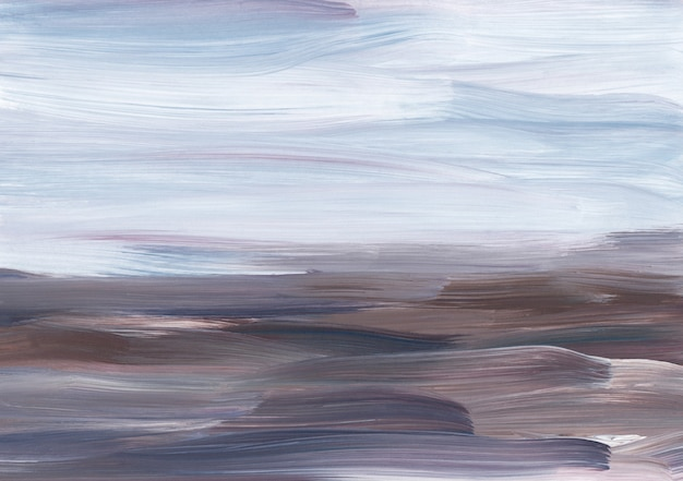 Abstrakter moderner ölgemäldehintergrund, violette, braune, weiße pinselstriche auf papier