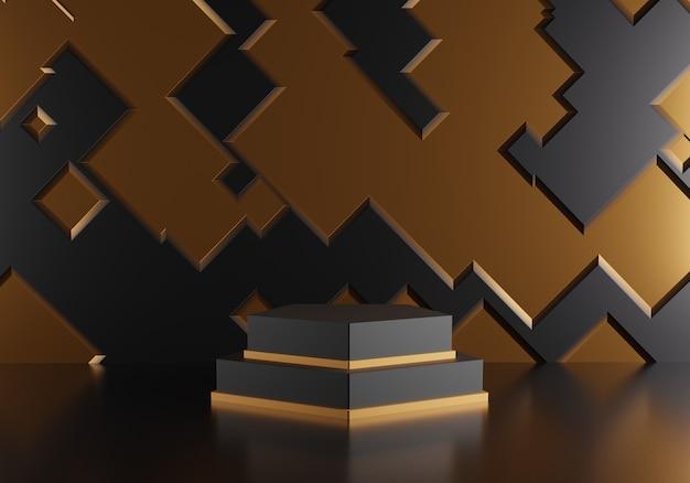 Abstrakter mustergoldhintergrund mit geometrischem formpodest.