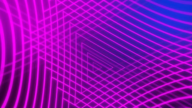 Abstrakter neonblauer und purpurroter leuchtender linienzusammenfassungshintergrund.