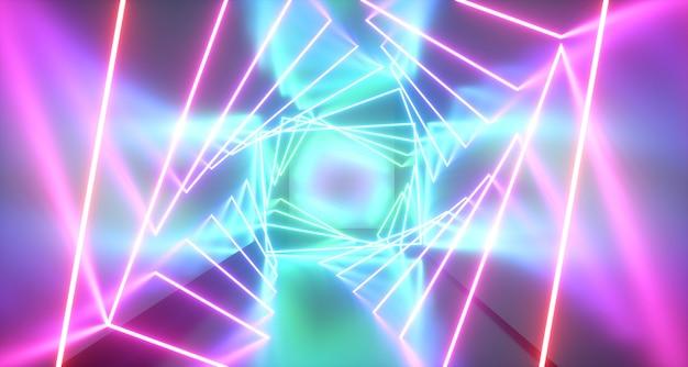 Abstrakter neonlichthintergrund. 3d-rendering