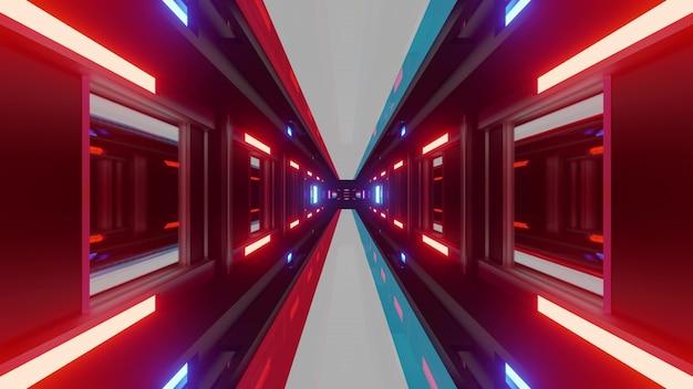 Abstrakter neontunnel mit leuchtenden lichtern der luxemburgischen nationalflagge als 3d-darstellung in 4k uhd