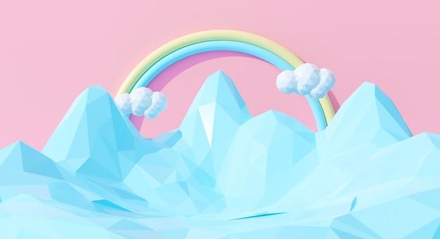 Abstrakter netter regenbogen 3d mit blauen bergen auf pastellhintergrund. 3d-rendering-design.