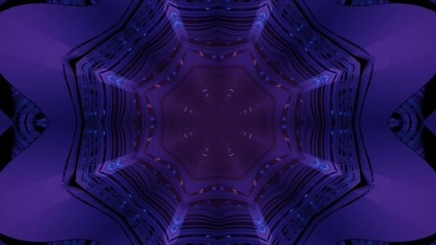 Abstrakter optischer täuschungshintergrund der 3d-illustration von leuchtenden neonlichtern innerhalb des dunkelvioletten achteckigen tunnels mit reflektierenden wänden