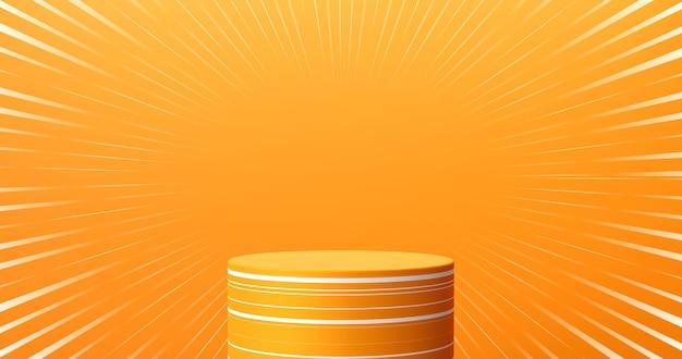 Abstrakter orangefarbener produktbühnenhintergrund oder podiumsockelanzeige auf leerem karikaturkunstraum mit studioschaufensterhintergrund. 3d-rendering.
