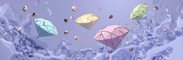 Abstrakter pastelldiamant mit violettem liquid splash-weichzeichner, 3d-rendering