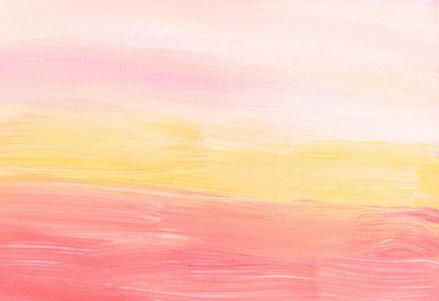 Abstrakter pastellgelber, pfirsichfarbener und weißer hintergrund. verschwommen . pinselstriche auf papier. minimalistische kunstwerke