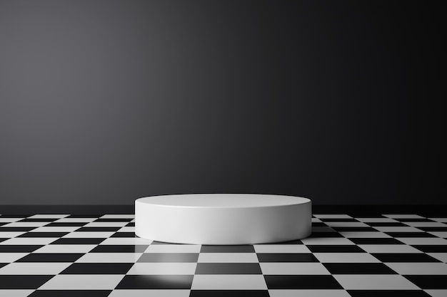 Abstrakter produkthintergrund und karierter musterboden auf dunklem raumsockel oder weißem podium mit hintergrundanzeige. 3d-rendering.