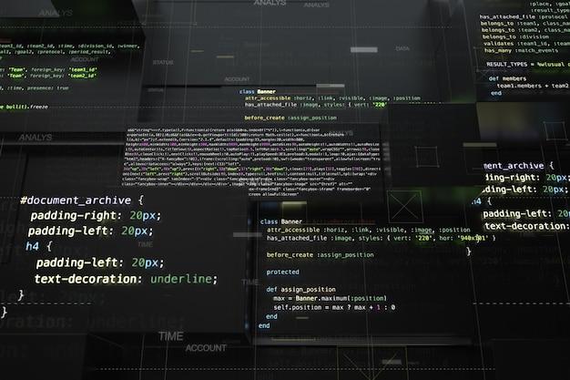 Abstrakter programmierhintergrund mit codezeilen und 3d-rendering von zufälligen extrudierten quadratischen formen. extrudierte reflektierende oberfläche mit software-entwicklungscode.
