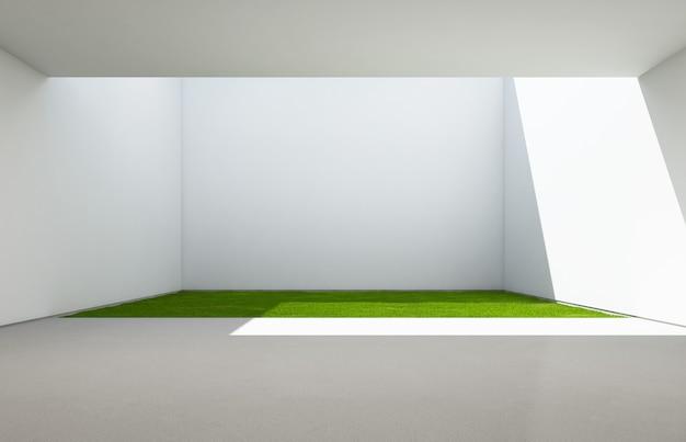 Abstrakter raum mit weißem wandhintergrund.