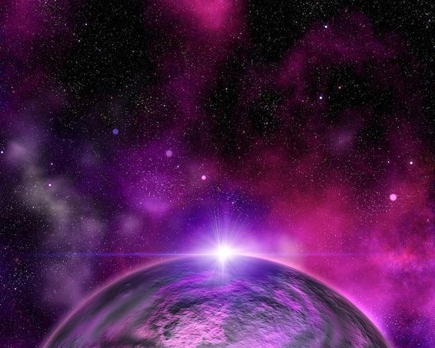 Abstrakter raumhintergrund mit fiktivem planeten