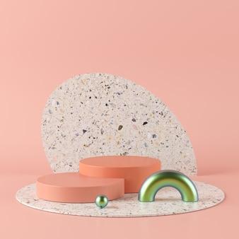 Abstrakter rosa hintergrund mit geometrischem formpodium. wiedergabe 3d für produkt.