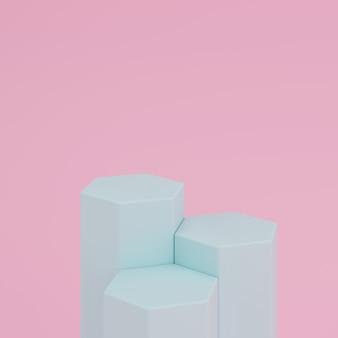 Abstrakter rosa hintergrund mit podium der grünen farbe der geometrischen hexagonform für produkt. minimales konzept. 3d-rendering