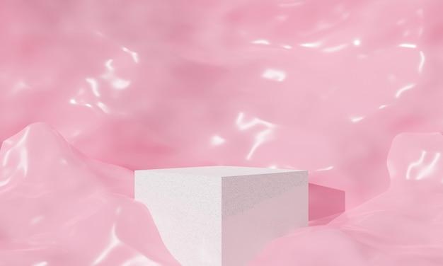 Abstrakter rosa pastellhintergrund. niedliche 3d-rendering für sockel, bühne und display-produkt.