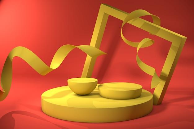 Abstrakter roter hintergrund mit gelbem geometrischem formpodium mit bändern für produkt. minimales konzept. 3d-rendering