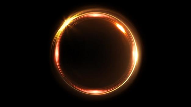 Abstrakter rotierender neonkreis in goldfarbe. leuchtender ring. weltraumtunnel. led-farbellipse. 3d-illustration. leeres loch. glühportal. heißer ball. flackernder spin.