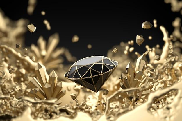 Abstrakter schwarzer diamant mit goldenem flüssigem spritz-weichzeichner, 3d-wiedergabe