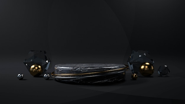 Abstrakter schwarzer hintergrund mit geometrischem formpodest für produkt. 3d-rendering