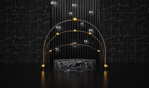 Abstrakter schwarzer hintergrund mit geometrischem formpodest für produkt. 3d-rendering.