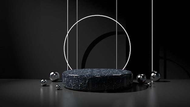 Abstrakter schwarzer hintergrund mit geometrischem formpodest für produkt.