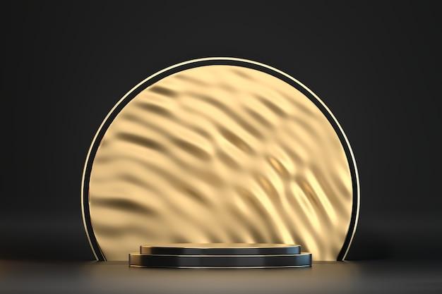 Abstrakter schwarzer hintergrund und goldbühnenpodest für produktanzeige, 3d-rendering