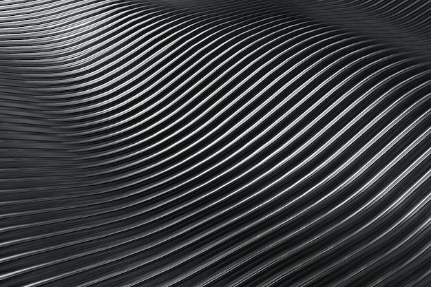 Abstrakter schwarzer silberner und weißer streifen, der den welligen hintergrund der 3d-wiedergabe-nahaufnahme schneidet