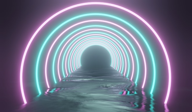 Abstrakter sci-fi-tunnel 3d mit rosa und blauem licht. 3d-illustration.