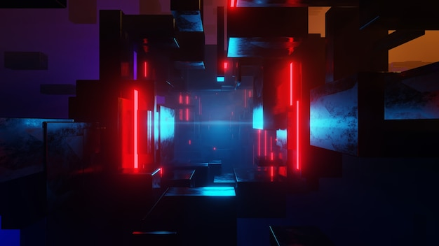 Abstrakter science-fiction-tunnel. edm-clubkonzert, high-tech-hintergrund. time warp portal, lichtgeschwindigkeits-hyperspace-konzept. 3d-rendering.