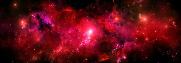 Abstrakter scifi-hintergrund mit buntem rotem nebelfleck und hellem sternenlicht