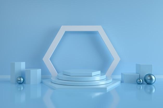 Abstrakter sechseckformhintergrund mit podium für produktstand