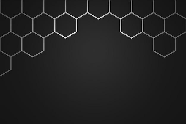 Abstrakter silberner sechseckmusterrahmen auf dunklem hintergrund mit futuristischem konzept.