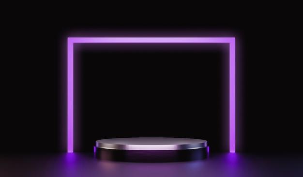Abstrakter silberner sockel für das zeigen von produkten mit neonlichtern