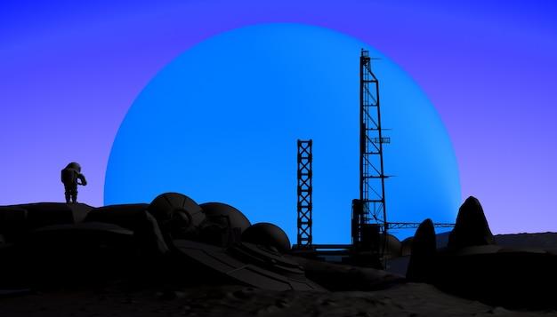 Abstrakter sonnenuntergang mit ufo-astronauten und raumschiff-startrampen 3d-illustration banner-hintergrund