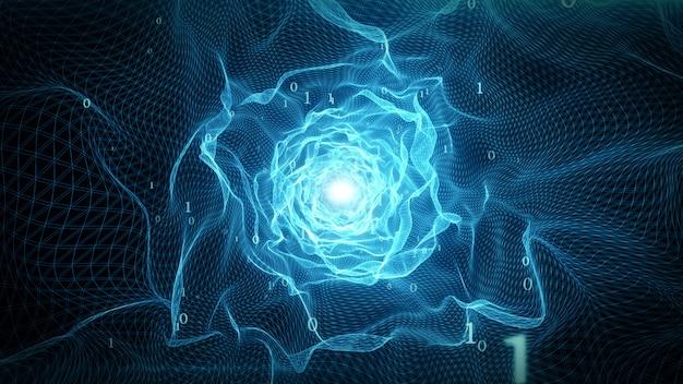 Abstrakter technologischer digitaler virtueller tunnel für die datenübertragung in der 3d-illustration des binärcodes