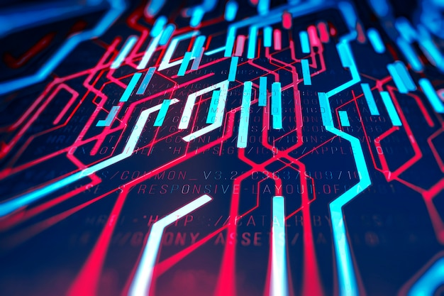 Abstrakter technologischer hintergrund in leuchtenden farben mit einem digitalen code.