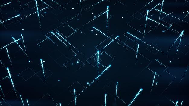 Abstrakter technologischer hintergrund mit streifen und teilchen 3d illustration