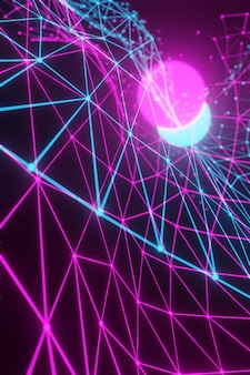 Abstrakter teilweise unscharfer hintergrund. polygonales gitter aus neonrosa und blau auf schwarzem hintergrund. vertikal. 3d-rendering