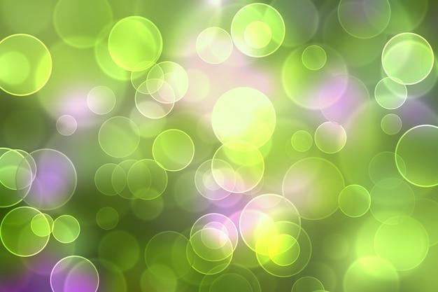 Abstrakter unscharfer hintergrund mit bokeh-effekt. defokussierter grüner und lila bokeh-hintergrund.