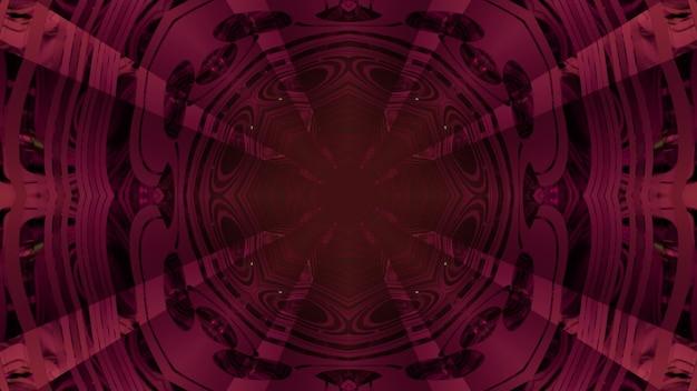 Abstrakter visueller hintergrund der 3d-illustration der perspektive des kreisförmigen raumtunnels mit dem dunklen geometrischen innenraum