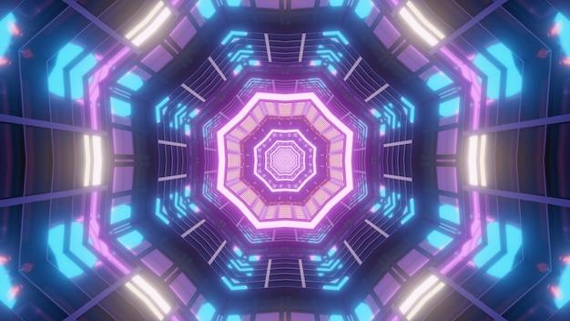 Abstrakter visueller hintergrund der 3d-illustration des innenraums des achteckigen korridors des futuristischen gebäudes mit symmetrischem design und bunter neonbeleuchtung