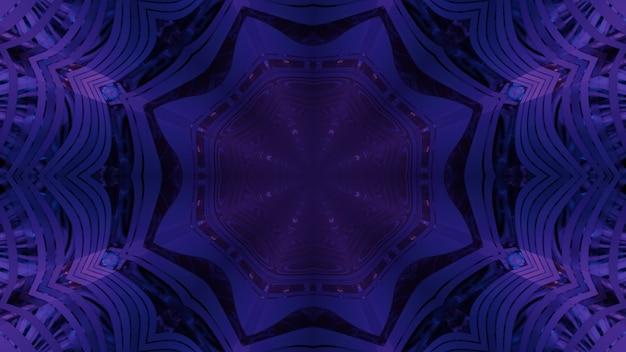 Abstrakter visueller hintergrund der 3d-illustration des sci-fi-gateways in form eines achteckigen sterns innerhalb des dunklen tunnels mit neonpurpurner beleuchtung