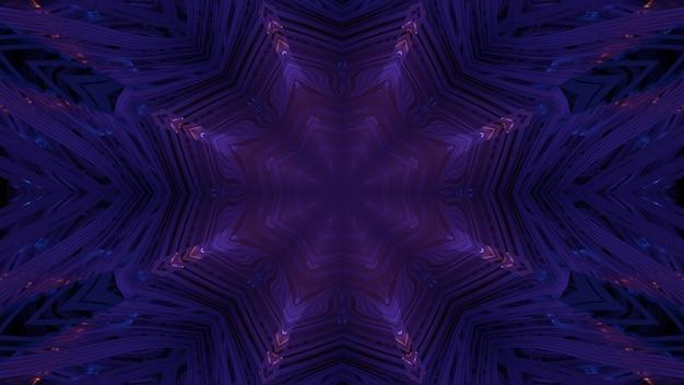 Abstrakter visueller hintergrund der 3d-illustration mit leuchtenden neon-symmetrischen linien innerhalb des dunkelvioletten tunnels mit geometrischem design