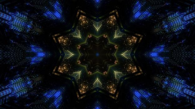 Abstrakter visueller hintergrundentwurf der 3d illustration mit leuchtendem buntem blumenförmigem kaleidoskopischem ornament auf dunklem hintergrund