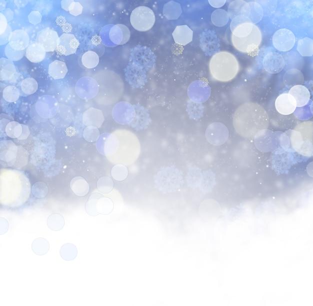 Abstrakter weihnachtshintergrund mit schneeflocken. elegantes bokeh. urlaub verschwommener hintergrund mit schneeflocken und schnee