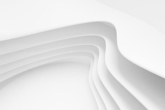 Abstrakter weißer architektur-hintergrund. 3d-rendering. moderne geometrische tapete. futuristisches technologiedesign