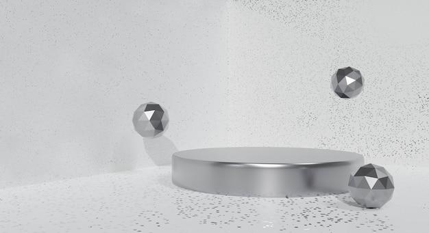 Abstrakter weißer hintergrund. 3d-rendering des grauen podiumsstandes.