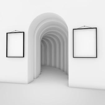 Abstrakter weißer torbogen mit weißen leeren plakat-mockup-rahmen extreme nahaufnahme. 3d-rendering