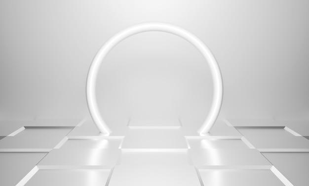 Abstrakter weißlichttunnelarchitekturhintergrund am ende.