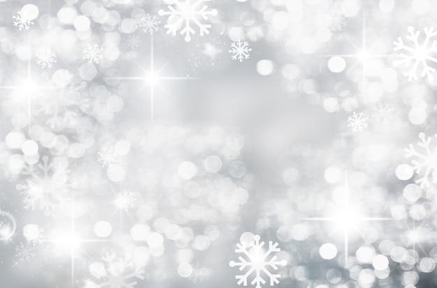 Abstrakter winter-silber-weiß-weihnachtshintergrund mit schneeflocken und bokeh-kreisen